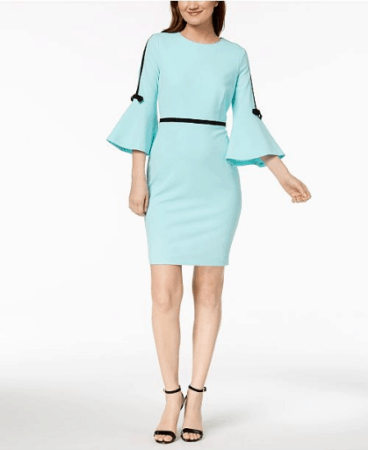 Mint green, bell sleeve sheath dress for petites date night out