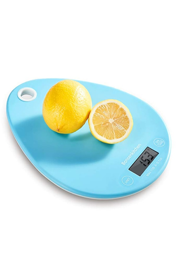 Bright blue kitchen scale