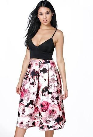 Amelia Floral Box Midi Skirt, $30, Boohoo