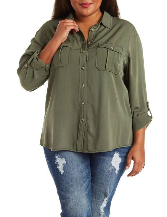Button up military shirt, $15, Charlotte Russe
