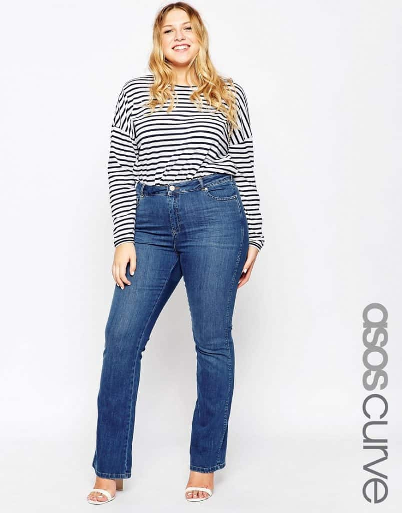 ASOS Curve slouch flare jeans, $30, ASOS
