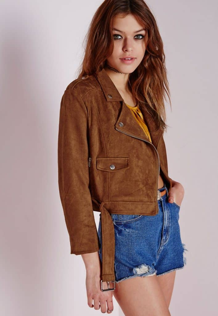 Faux suede jacket, $51, Missguided