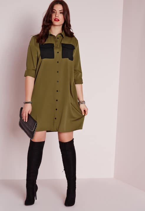 Plus size military pocket shirt dress, $47.60, Missguided