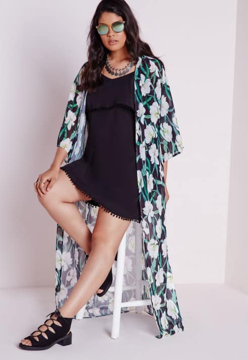 casual plus size outfits: Plus size floral print kimono, $13.60, Missguided
