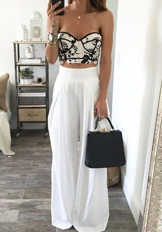High waisted pants and bustier top