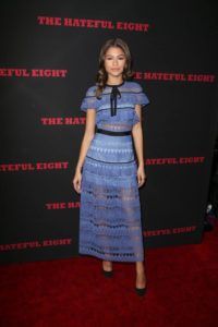 zendaya coleman style - actress wearing blue midi dress