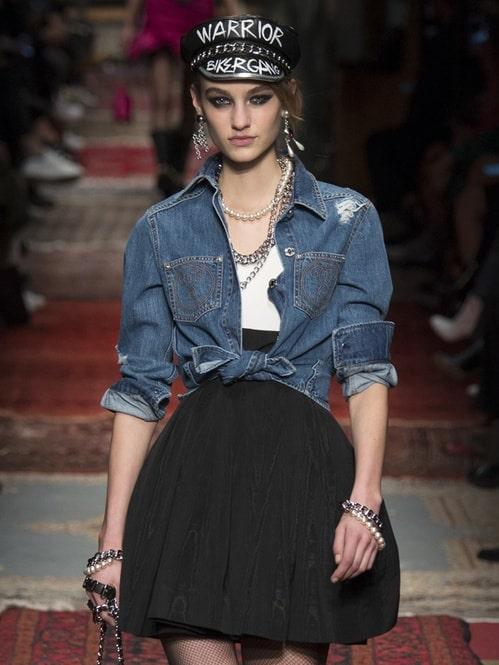 runway fashion model for moschino