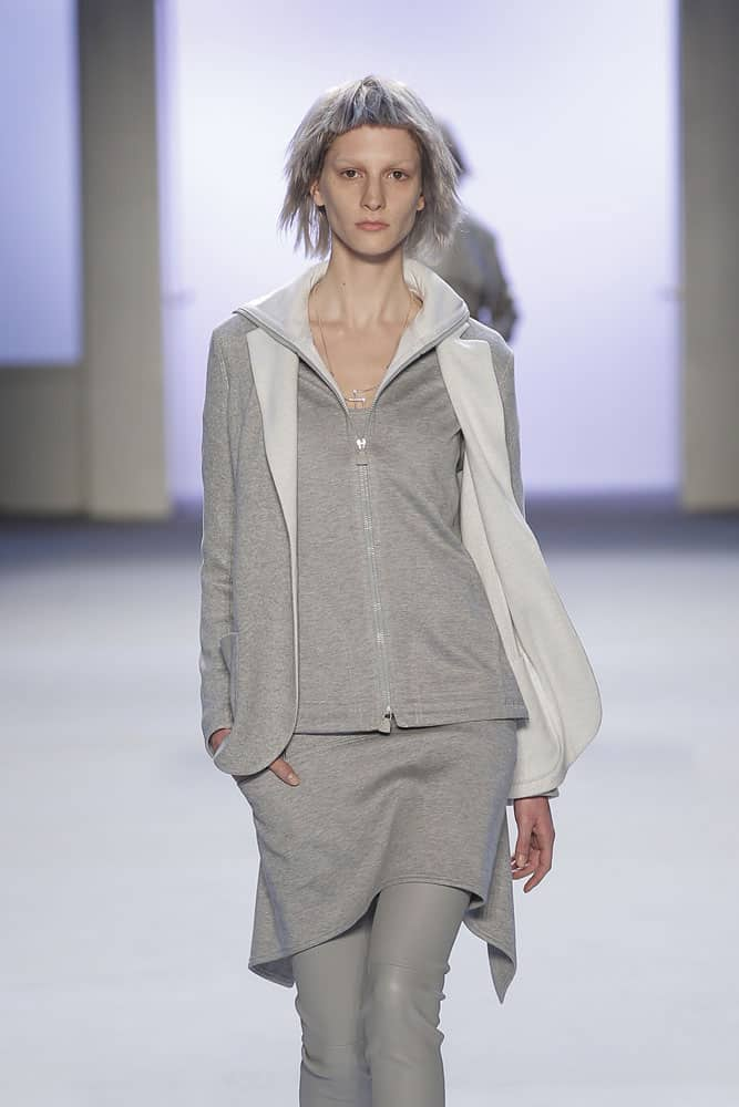 runway fashion model wearing akris