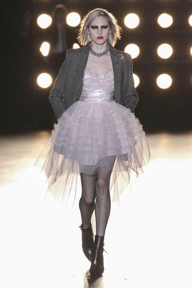 runway model wearing yves saint laurent