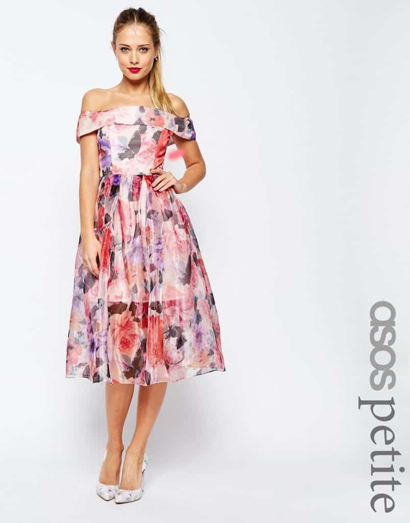 ASOS Floral Organza Bardot Midi, $145, ASOS