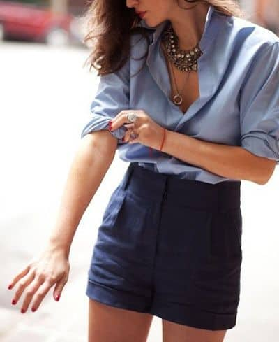 Outfit with short skirt and masculine shirt