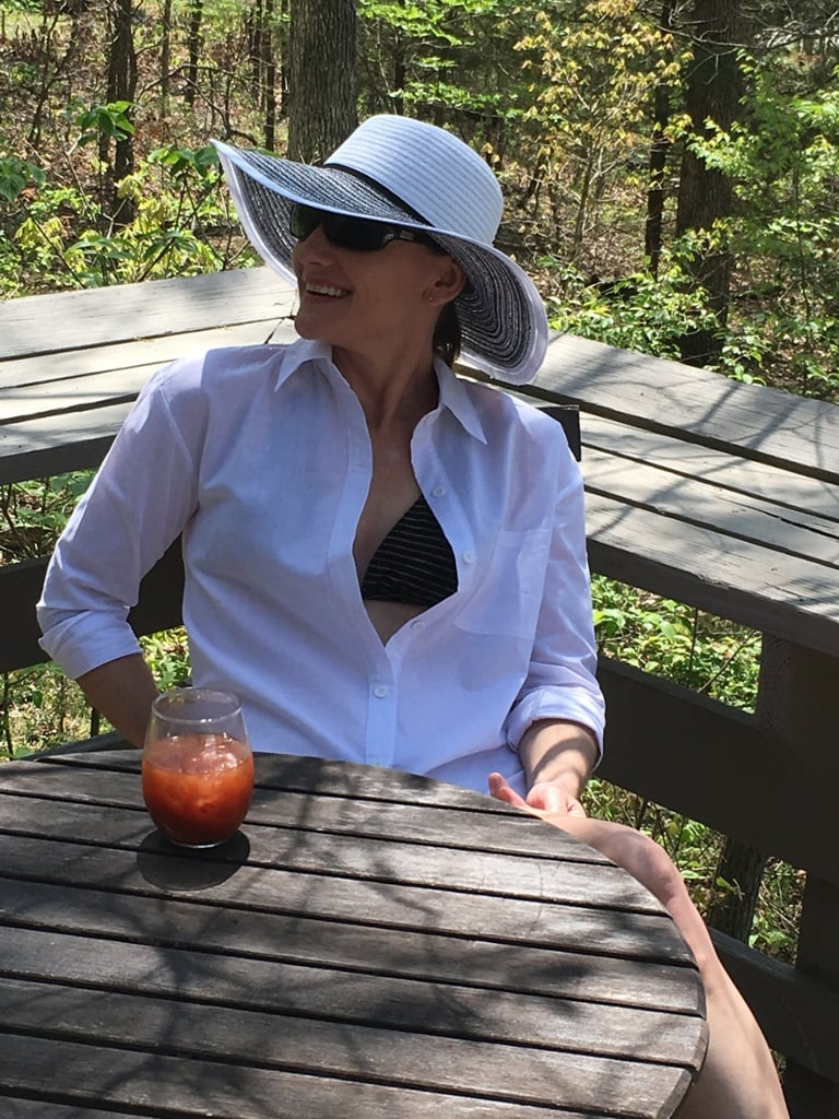 Catherine Brock wearing floppy hat