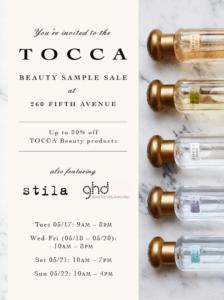tocca sample sale details on flyer