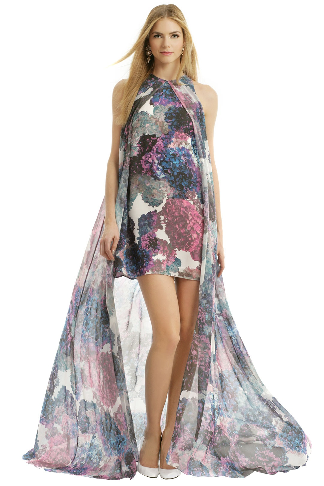 Floral dress short in the front, long in the back