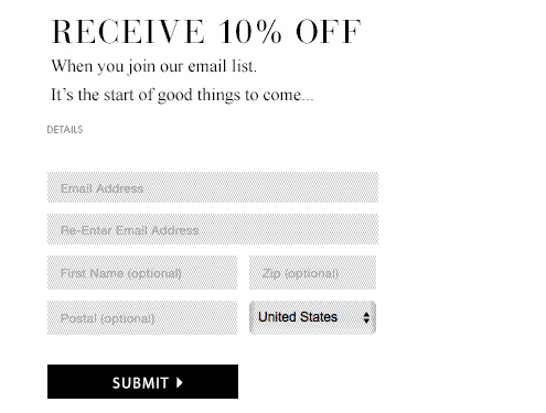 Screenshot of discount for joining email list