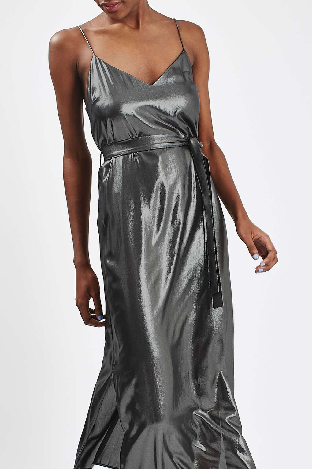 Long gray metallic dress
