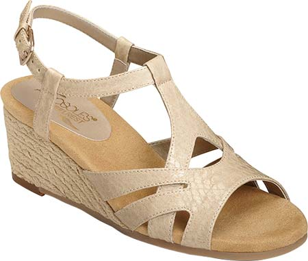 wedge shoe with natural color strap