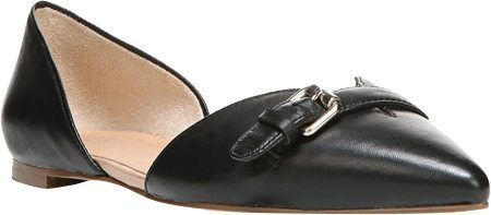 black leather flat shoes with buckle