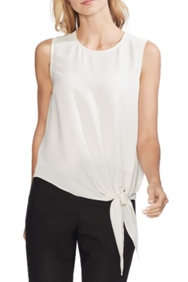 White tie-front blouse