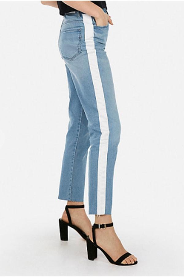 Denim jeans with side stripe