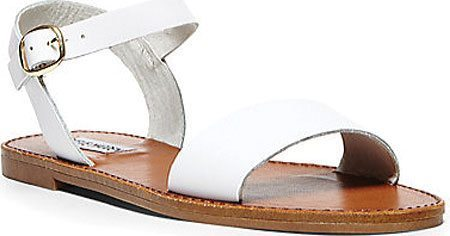 flat sandals with white leather strap