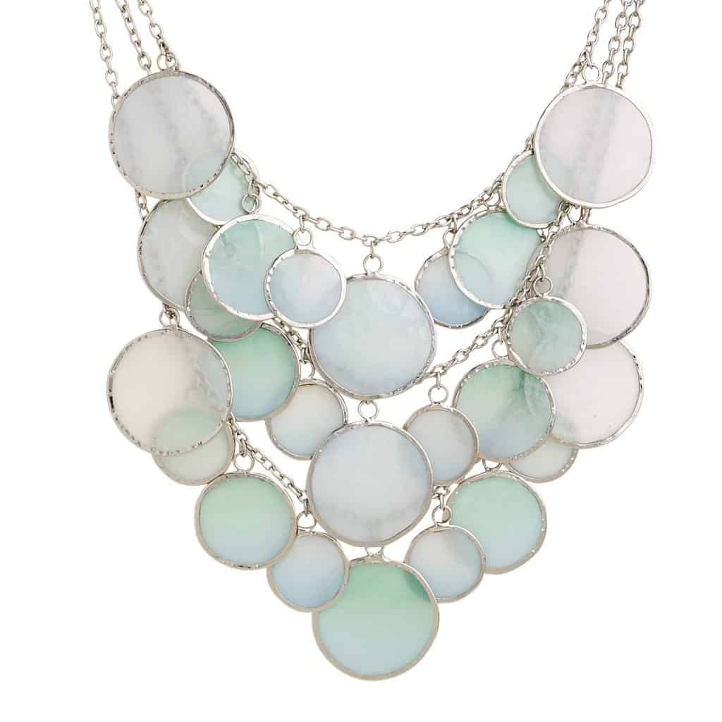 statement necklace with silver chain and multiple round pendants