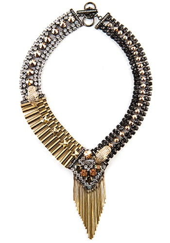statement necklace with gold fringe