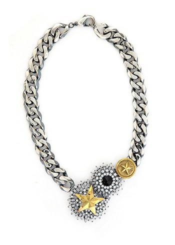 Necklace with silver colored thick chain and gold stars