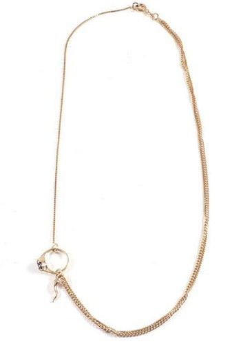 gold chain necklace with ring pendant