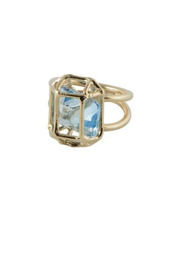 gold ring with large blue stone