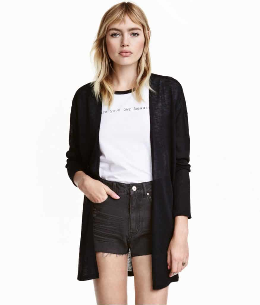 model wearing shorts and sheer cardigan
