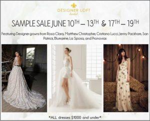 flyer for bridal sample sale