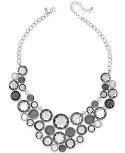 statement necklace with three strands featuring round stones of different gray colors