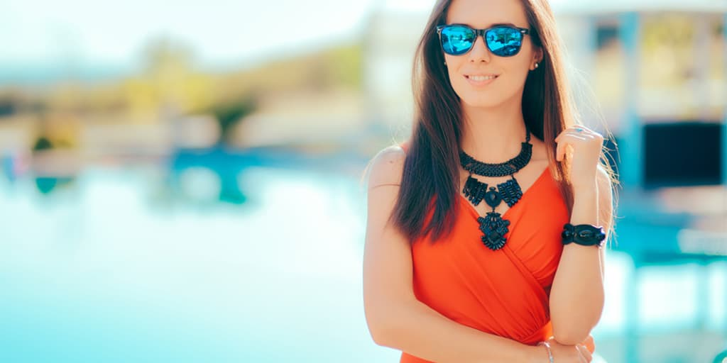 Woman wearing statement necklace