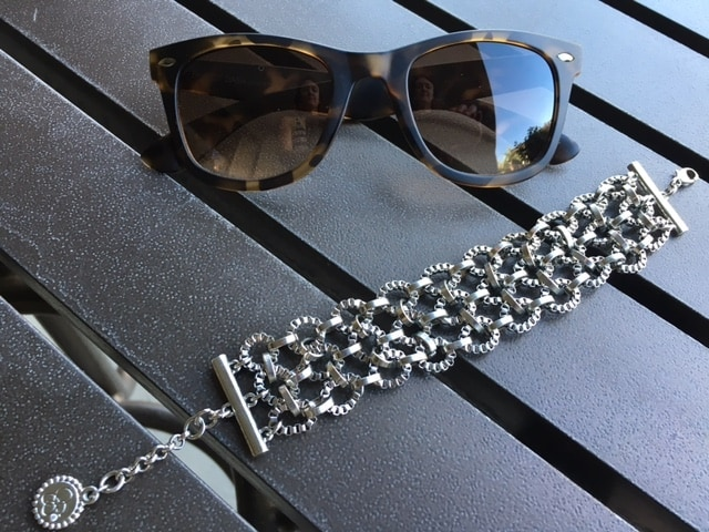 Silver chain bracelet and tortoise shell sunnies