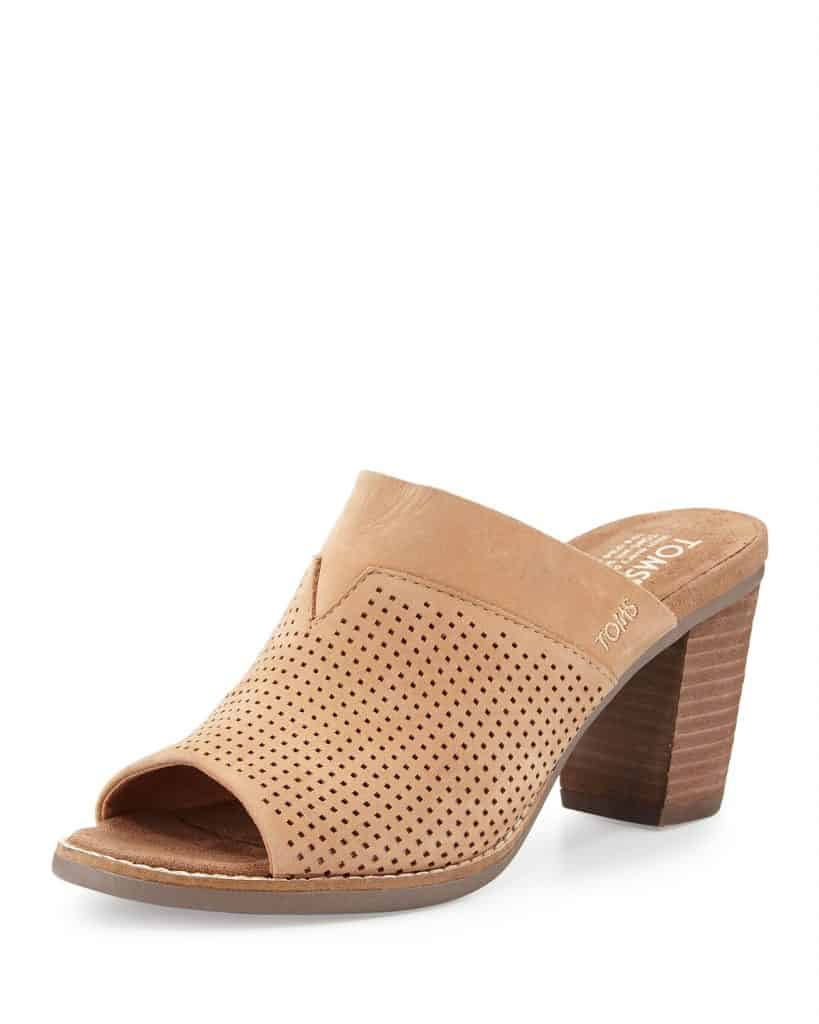 light brown mule sandal with perforated strap