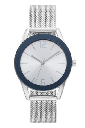 Silver and blue bezel summer watch