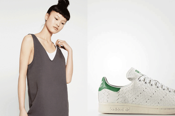 Zara midi dress and Adidas sneaks