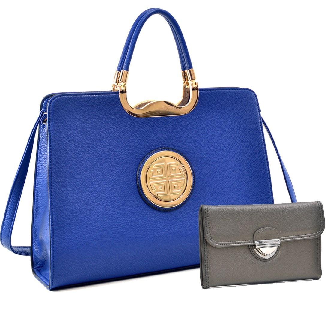 Bright blue box bag big enough for a laptop