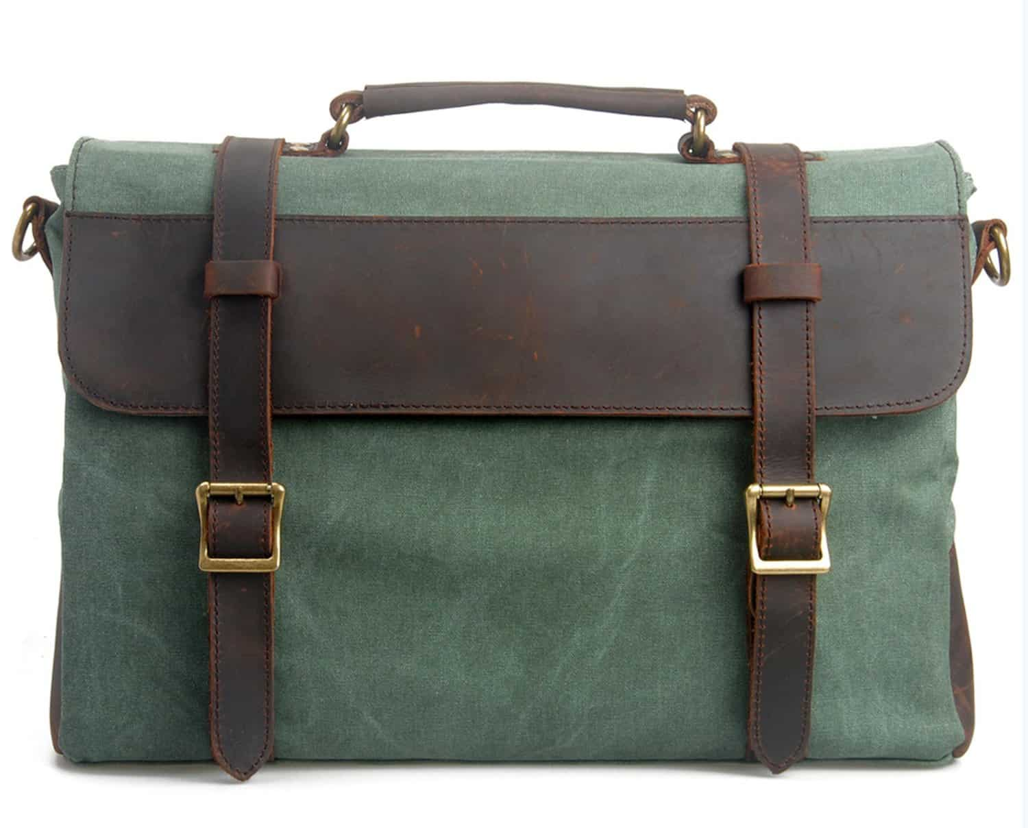 briefcase for women - green and brown briefcase