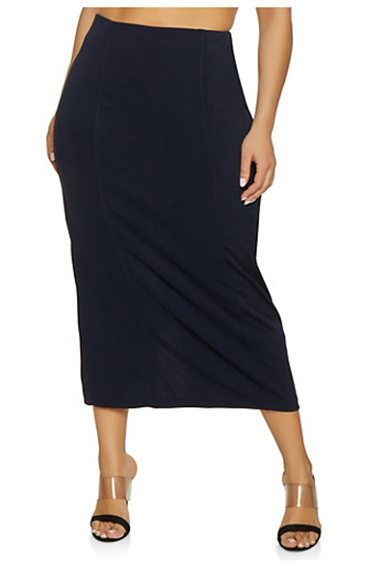 Plus size pencil skirt with high waist