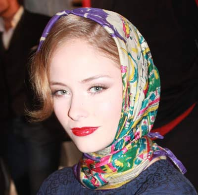 Woman wearing floral headscarf