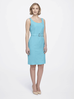 Belted Sheath Dress, $63.95, Tahariasl.comThis linen aqua dress looks simple, but can easily be dressed up with a statement necklace and the right shoes. You can also soften up the look with a wide scarf worn as a wrap.