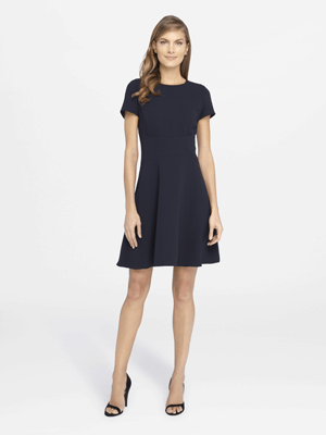 woman wearing navy blue cocktail dress