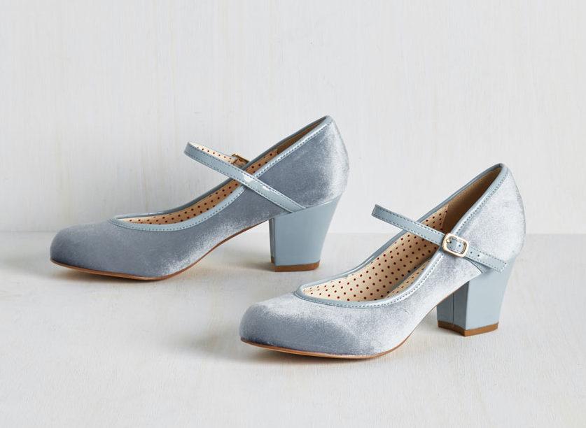 Baby blue velvet mary jane shoes