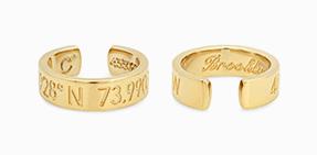 Gold earrings with lattitude and longitude