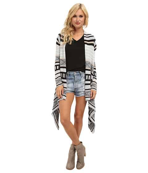 ralph lauren for less - woman wearing navajo inspired cardigan