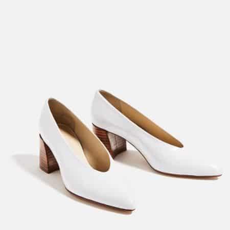 White, mid heeled shoe