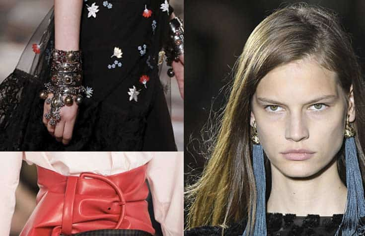 collage of bold accessories for women