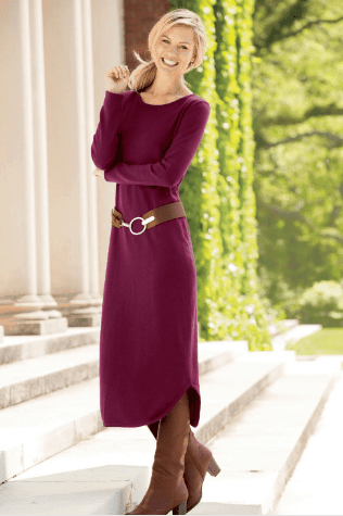 maroon sweater dress with o-ring belt